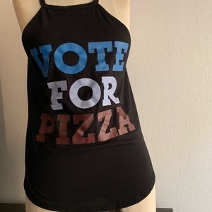 Tops - Vote For Pizza Red White Blue Tank - Size Small